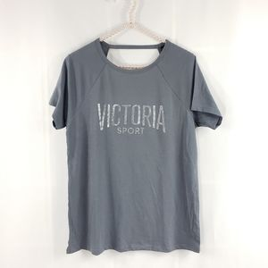 Victoria's Secret Sport Open Back Glitter Logo Tee